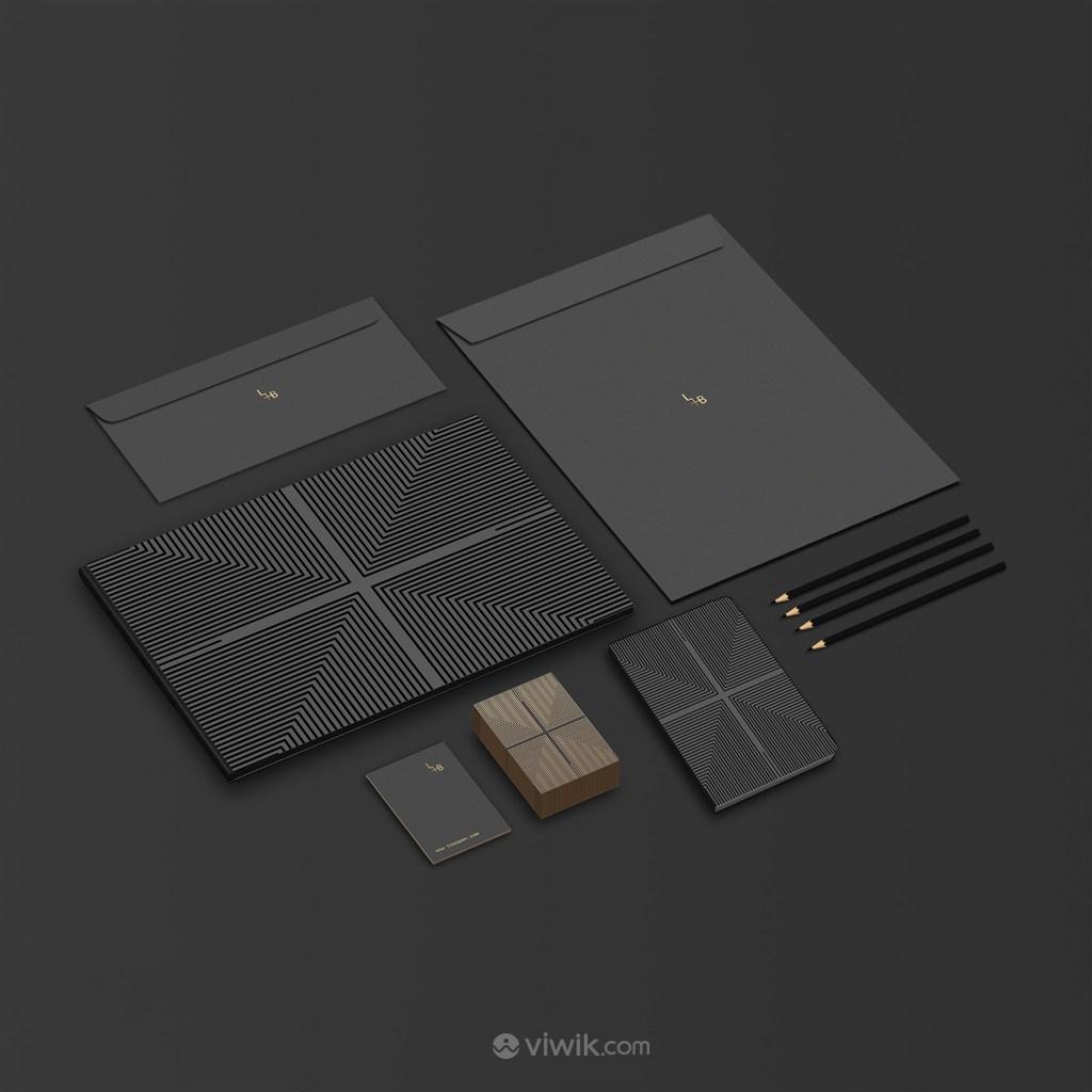 黑色轻奢化妆品护肤品品牌vi名片信封笔记本文件袋贴图样机
