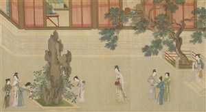 第八幅汉宫春晓图假山旁谈话聊天女子绘画图片