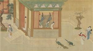 第十幅汉宫春晓图孔雀动物绘画图片