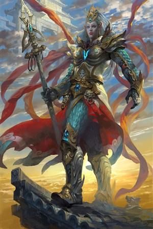 古代神魔战士武将战场绘画图片