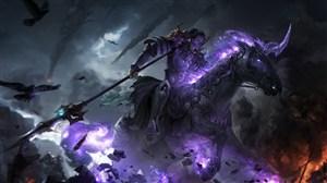 古代紫色光辉马驹武将战场绘画图片