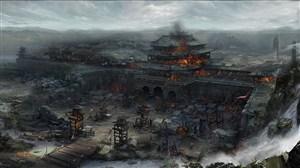 古代武将战火城墙战场绘画图片