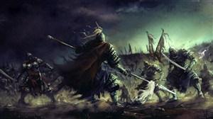 古代武将黑夜战争战场绘画图片