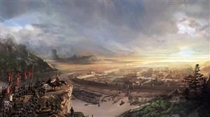 古代武将出征城市战场绘画图片