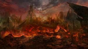 古代火山岩浆武将战场绘画图片