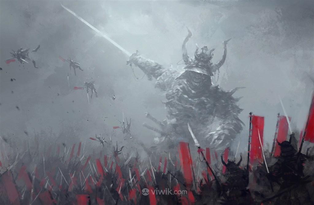 古代日本残忍武将战场绘画图片