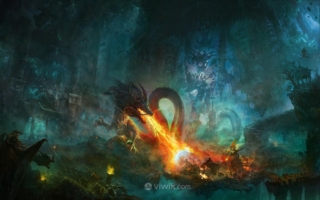 古代神龙袭击村庄战场绘画图片
