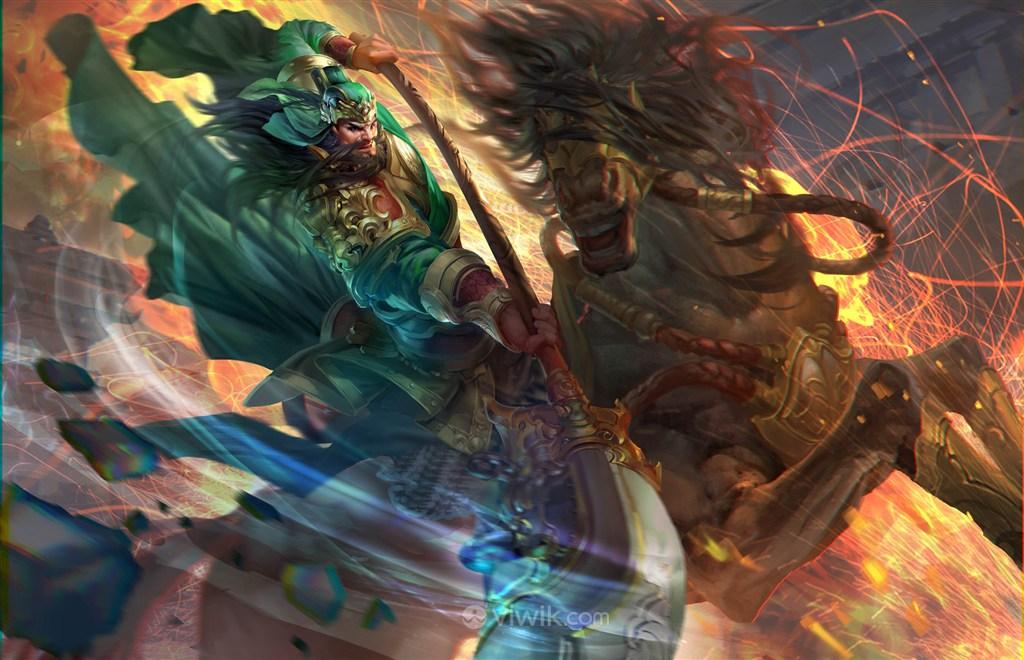 古代关羽武将骑马砍刀战场绘画图片