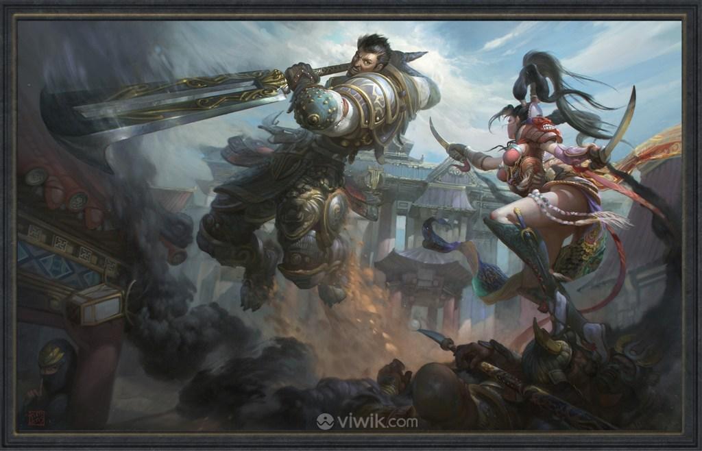 古代凶猛武将女刺客战场绘画图片