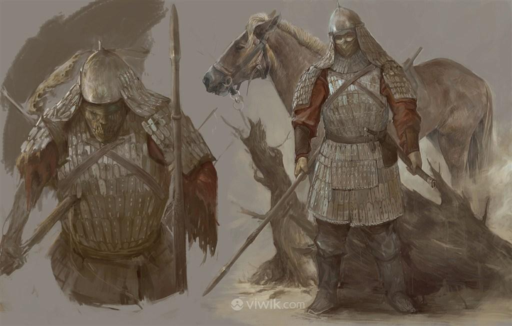 古代僵尸武将战场细节图绘画图片