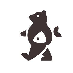 熊鱼标志图标矢量食品logo设计素材