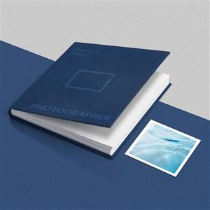 蓝色精装工作记事本卡片样机