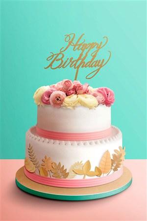 高定玫瑰花奶油蛋糕生日快乐节日海报模板