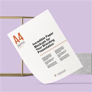 紫色背景上的A4宣传单样机模板