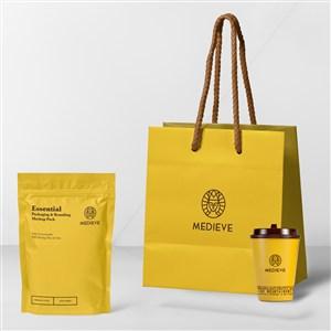 咖啡店vi手提袋咖啡杯包装袋样机