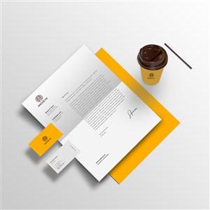 咖啡店vi名片文档咖啡杯样机