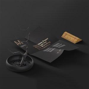 黑色A4宣传单样机
