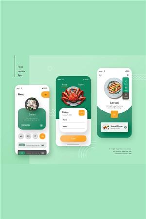 绿色色调美食app界面设计