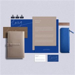 蓝色VI名片笔记本文档贴图样机