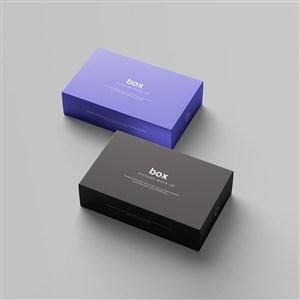 两种颜色的长方形纸盒包装设计样机
