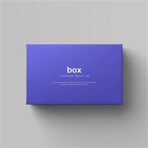 紫色长方形纸盒包装贴图样机