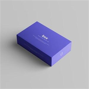 紫色盒子包装盒贴图样机