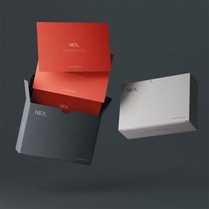 悬浮的卡片黑色纸盒包装样机