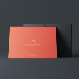 红色卡片黑色包装盒贴图样机