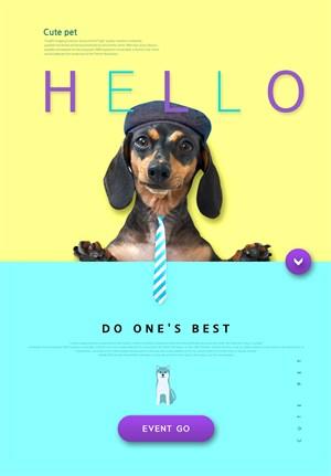 戴领带的狗狗宠物店网页网站模板