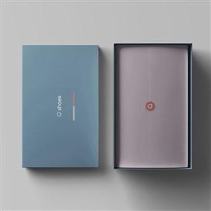 顶视图打开的纸盒鞋盒包装样机