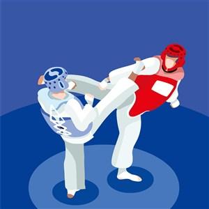 奥林匹克体育拳击比赛插画素材