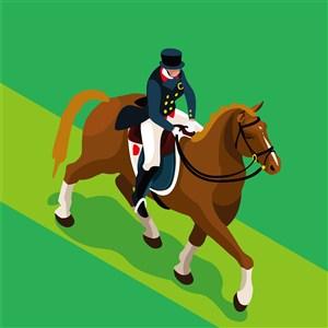 奥林匹克体育马术比赛插画素材
