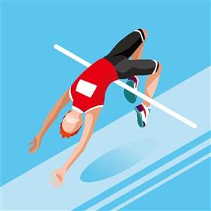 奥林匹克体育跳高比赛插画素材