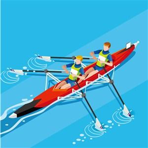 奥林匹克体育皮划艇比赛插画素材