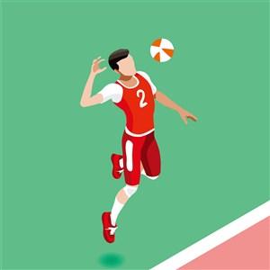 奥林匹克体育排球比赛插画素材
