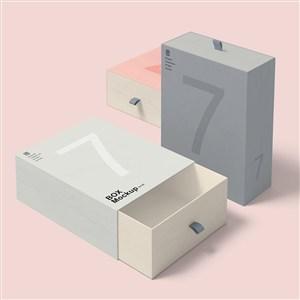 3个礼品纸盒包装贴图样机