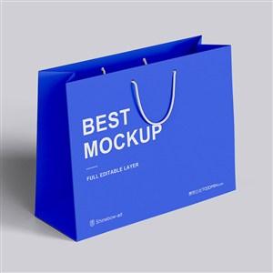 横版蓝色卡纸手提袋样机