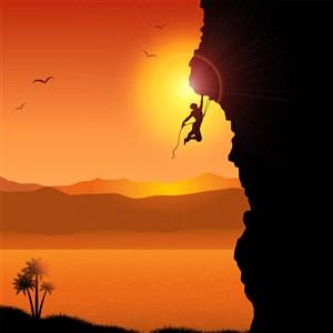 攀岩登山攀登高峰剪影插画素材