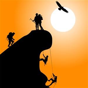 攀岩登山攀登上高峰人物鹰剪影插画