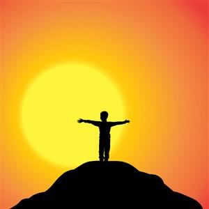 攀岩登山攀登高峰迎着太阳展开双手剪影插画