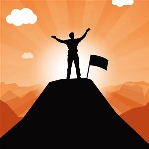 攀岩登山攀登上高峰插上旗子剪影插画