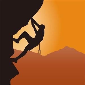 在悬崖攀岩登山攀登高峰剪影插画