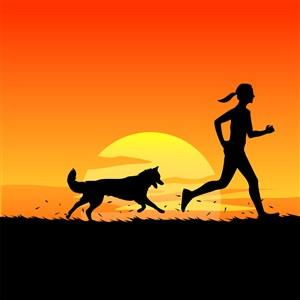 在运动的人和狗剪影插画