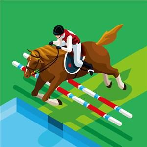 奥林匹克体育马术比赛插画图片