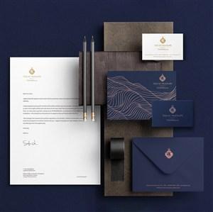 男士服装品牌VI信封名片文档样机模板