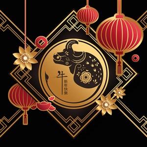 2021牛年新年快乐灯笼金牛设计素材