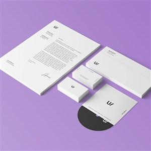 极简VI文档名片信封CD样机模板
