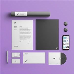极简VI名片信封文档手机样机模板