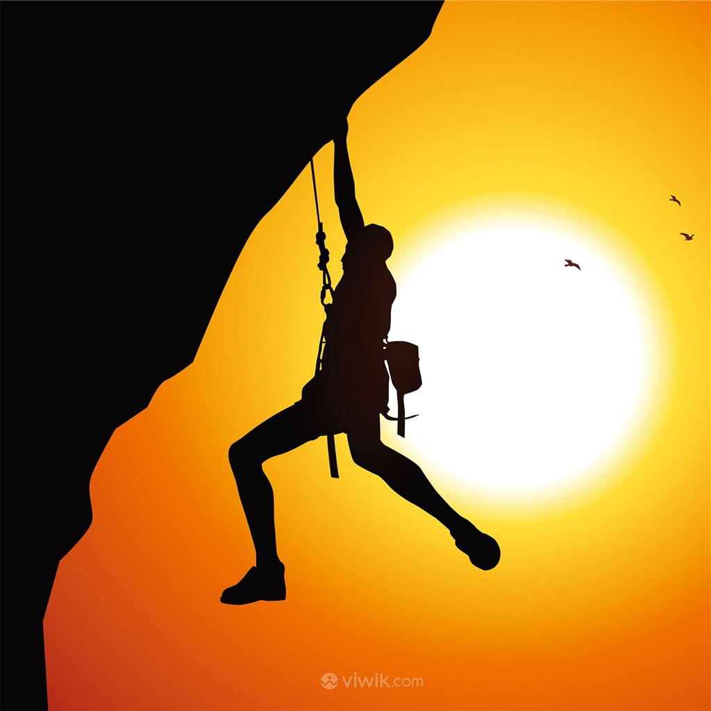 攀岩登山攀登高峰剪影插画