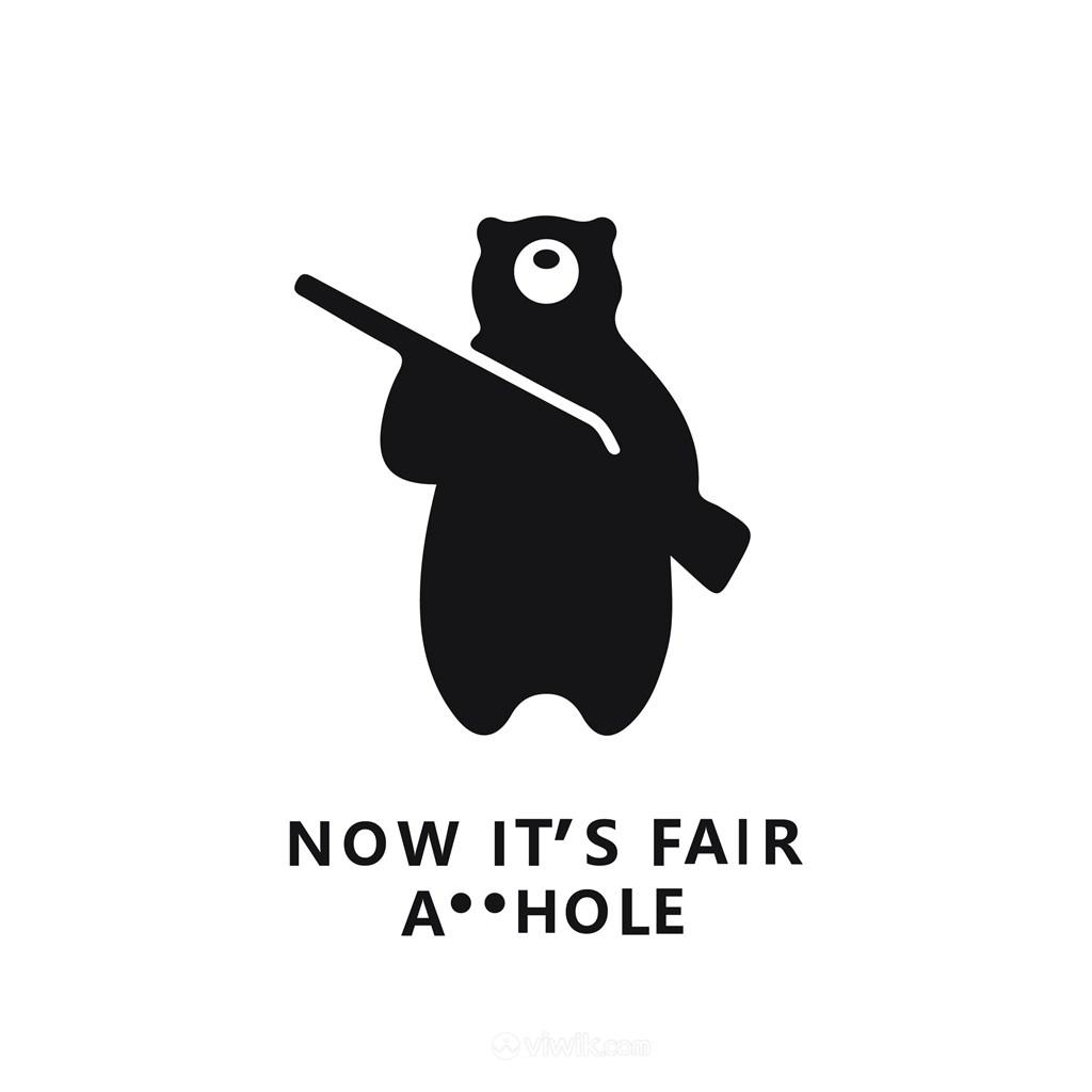 拿着枪的熊标志图标矢量logo设计素材